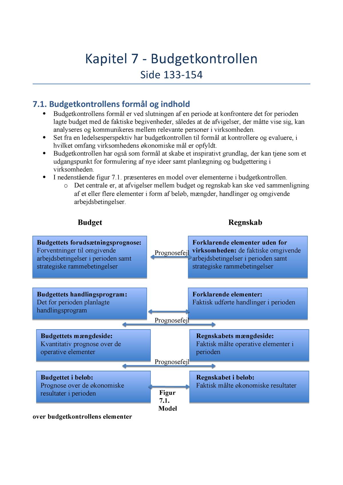 a5f03f25d34 Kapitel 7 - Budgetkontrollen - Økonomistyring - StuDocu