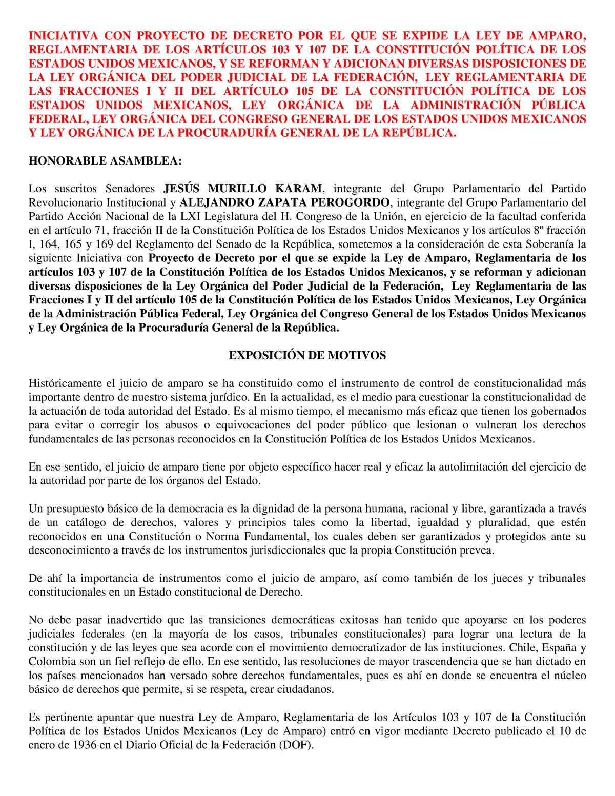Exposición De Motivos Proyecto De Nueva Ley De Amparo 101