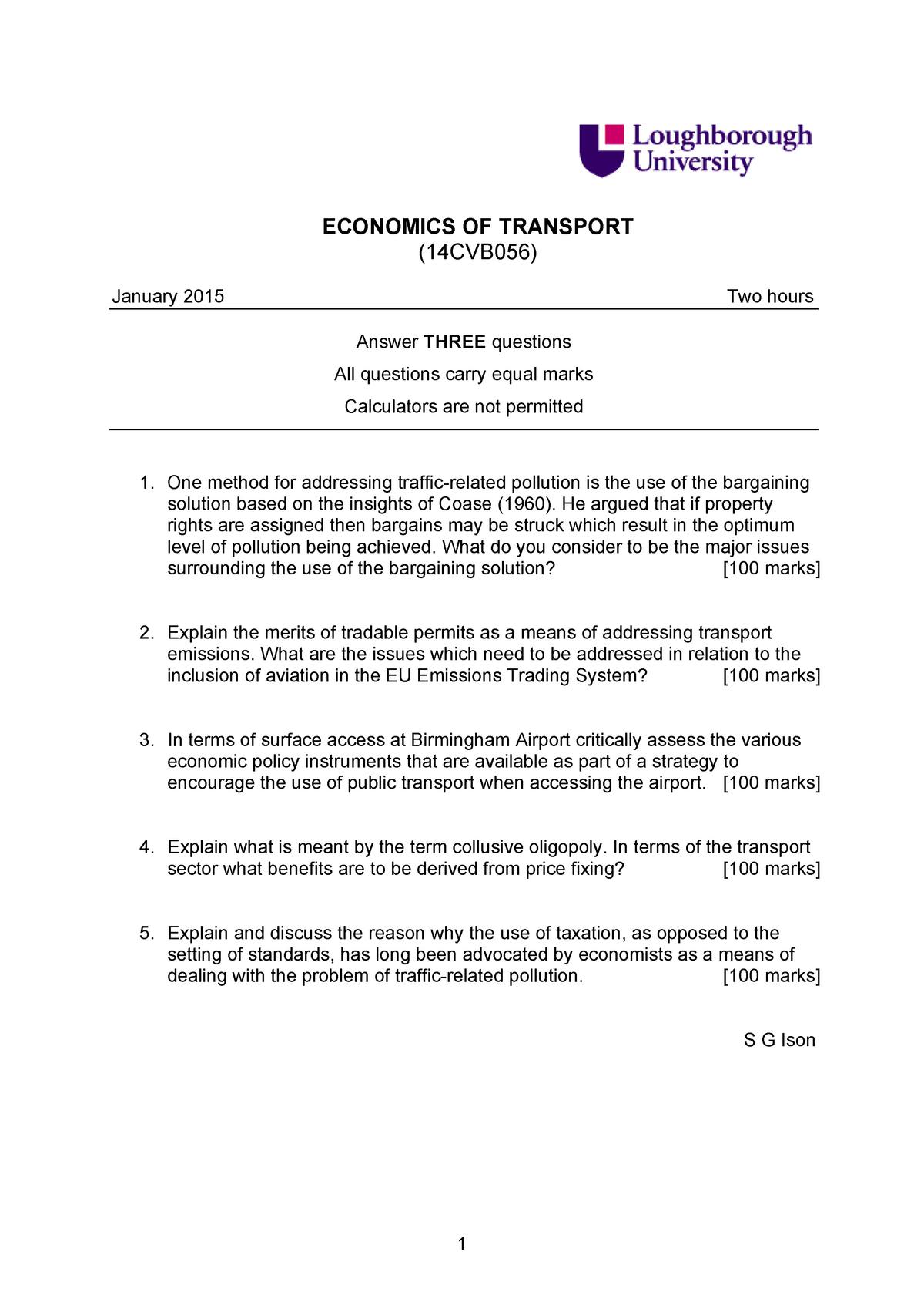Exam 2015 - 17CVB056: Economics of Transport - StuDocu