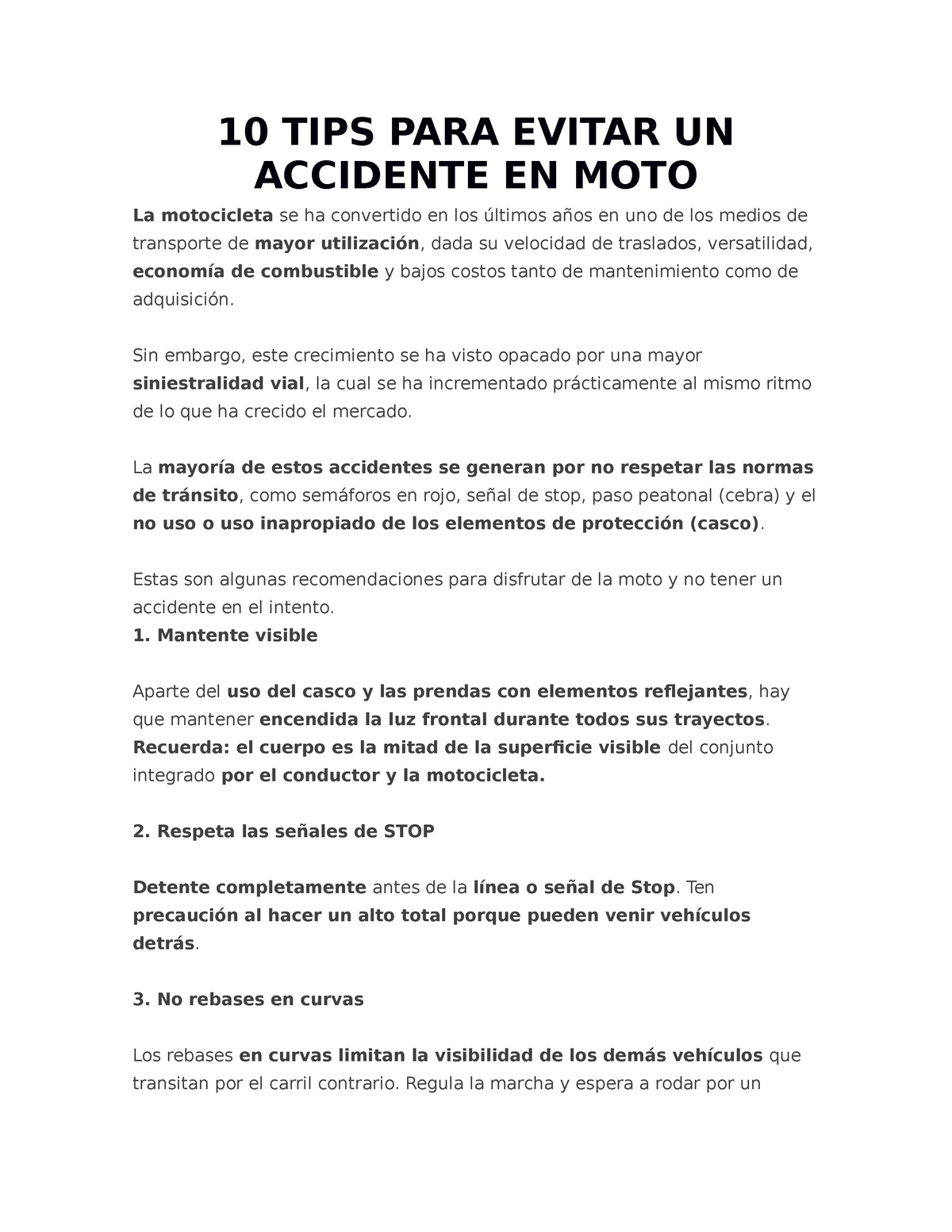 421a8695bf4 10 TIPS PARA Evitar UN Accidente EN MOTO - Derecho - StuDocu