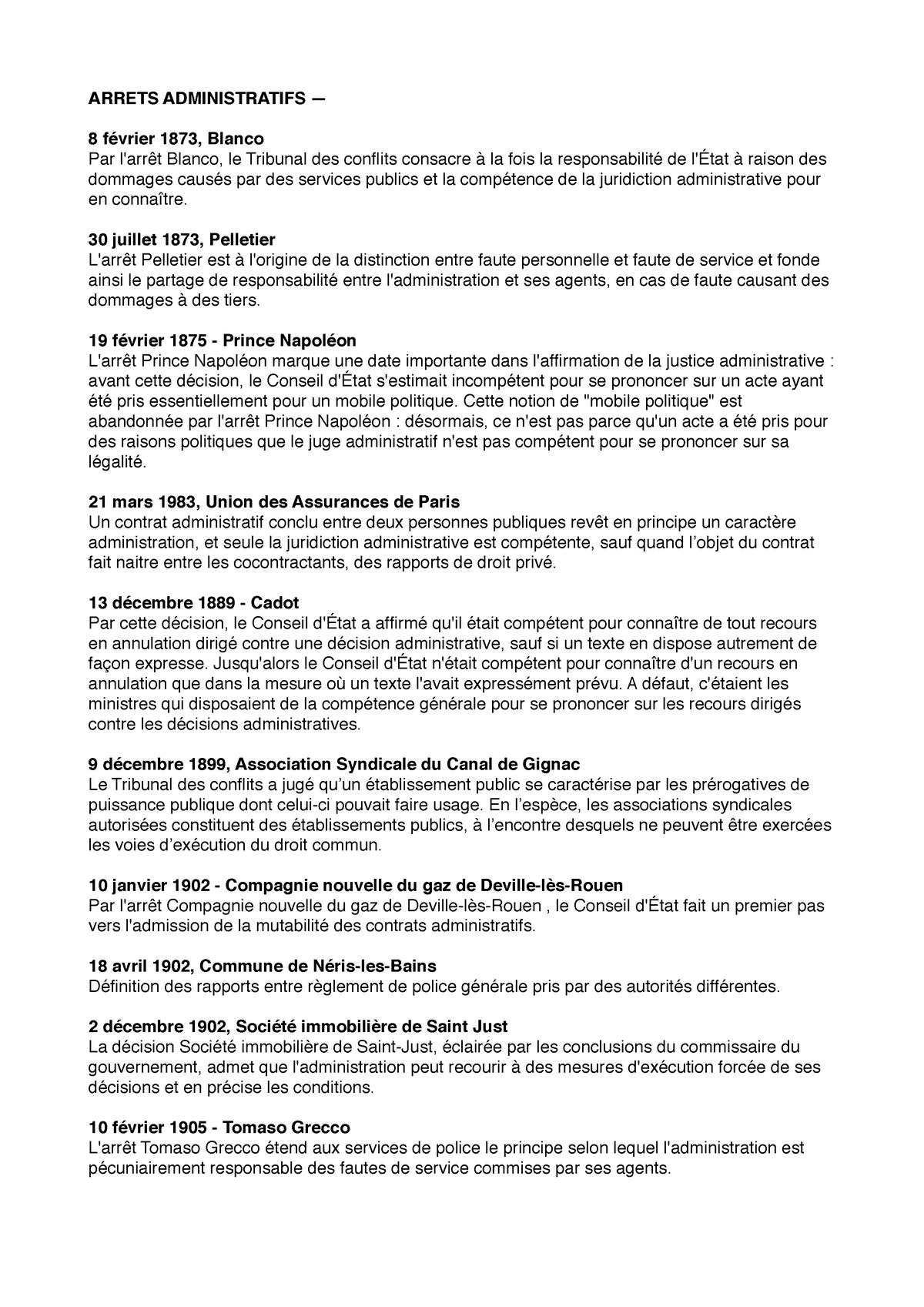 Arrets admi pdf - StuDocu