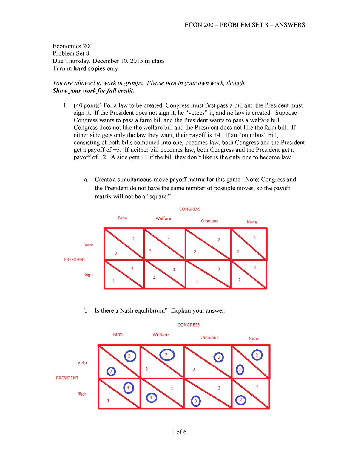 Econ 200 - Problem Set 9 - Answers - ECON B200 - StuDocu