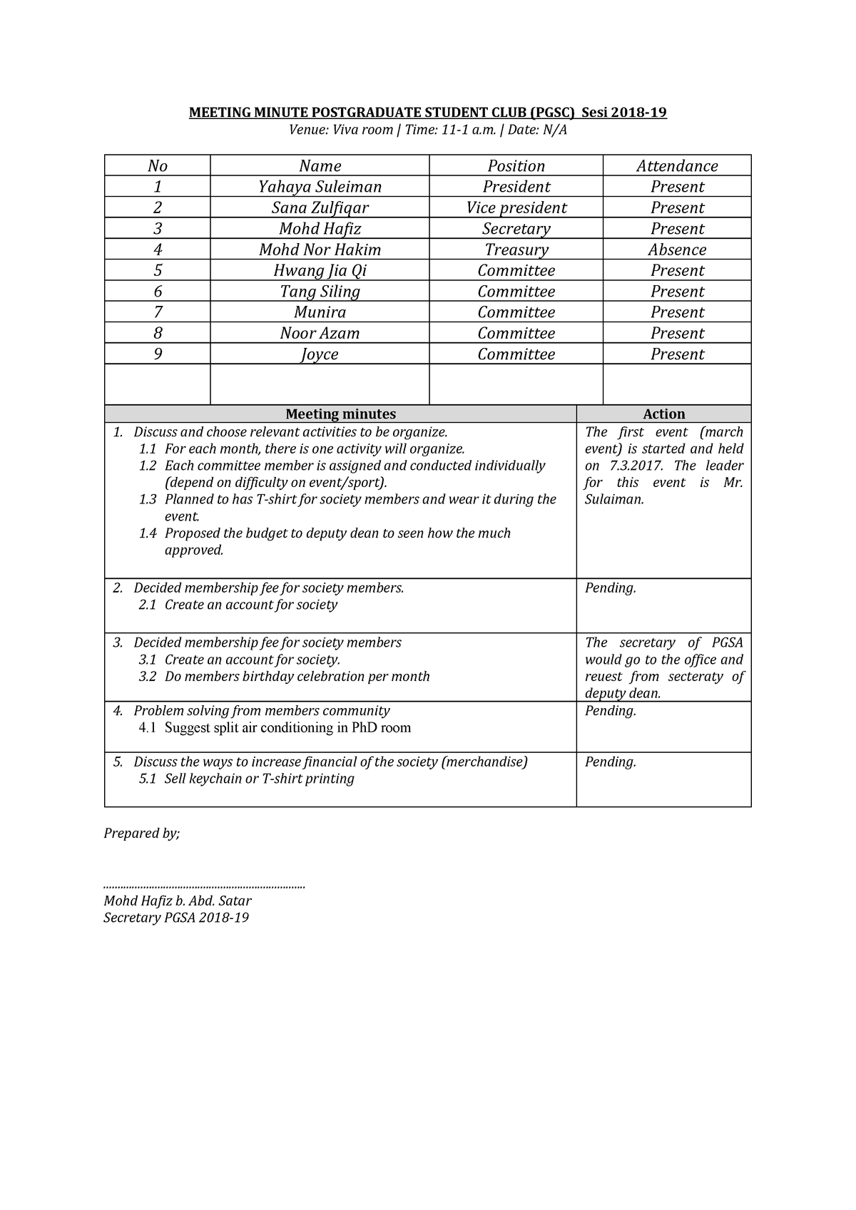 Minutes meeting-1st - ZCT101: Mechanics - StuDocu