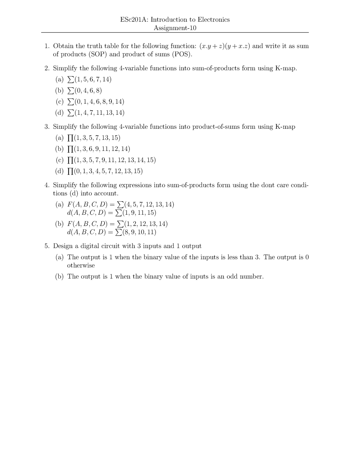 Assign 10 - ESC201: Introduction To Electronics - StuDocu