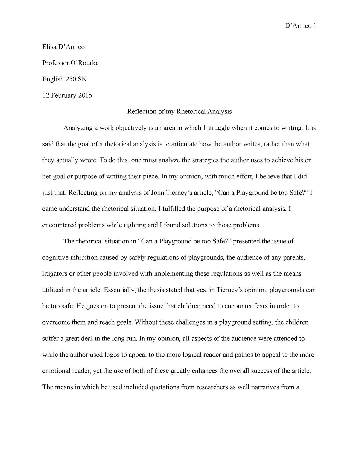 Writing A Rhetorical Essay