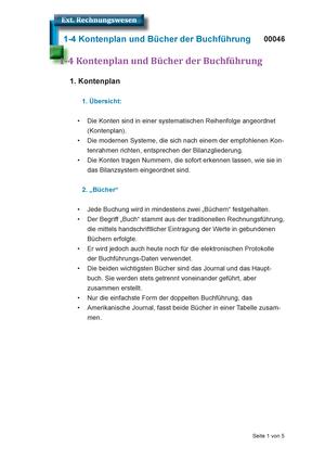 Zusammenfassung Externes Rechnungswesen Komplett Kontenplan