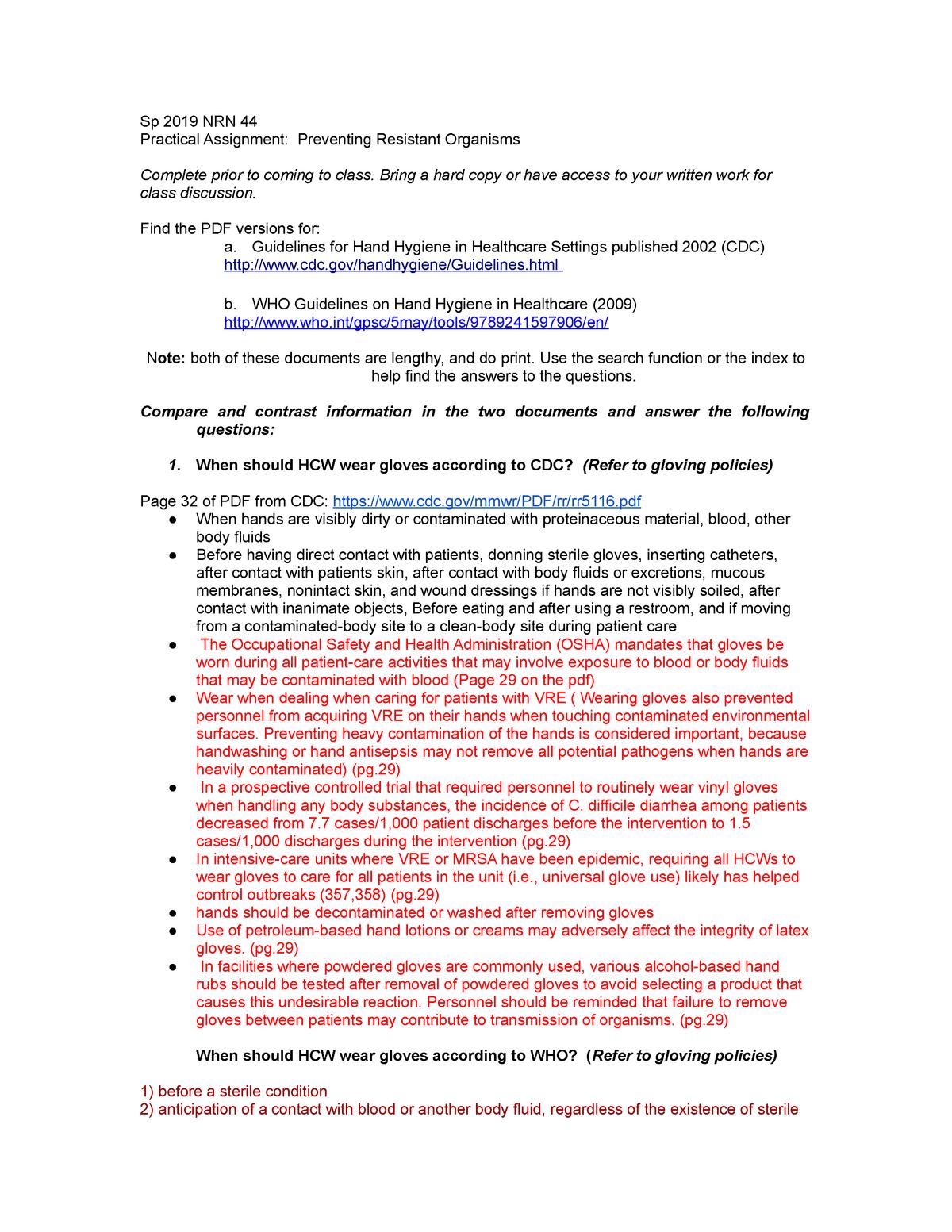 Sp19 44 PA6 Preventing Resistant Organisms - NURS 124: Nursing