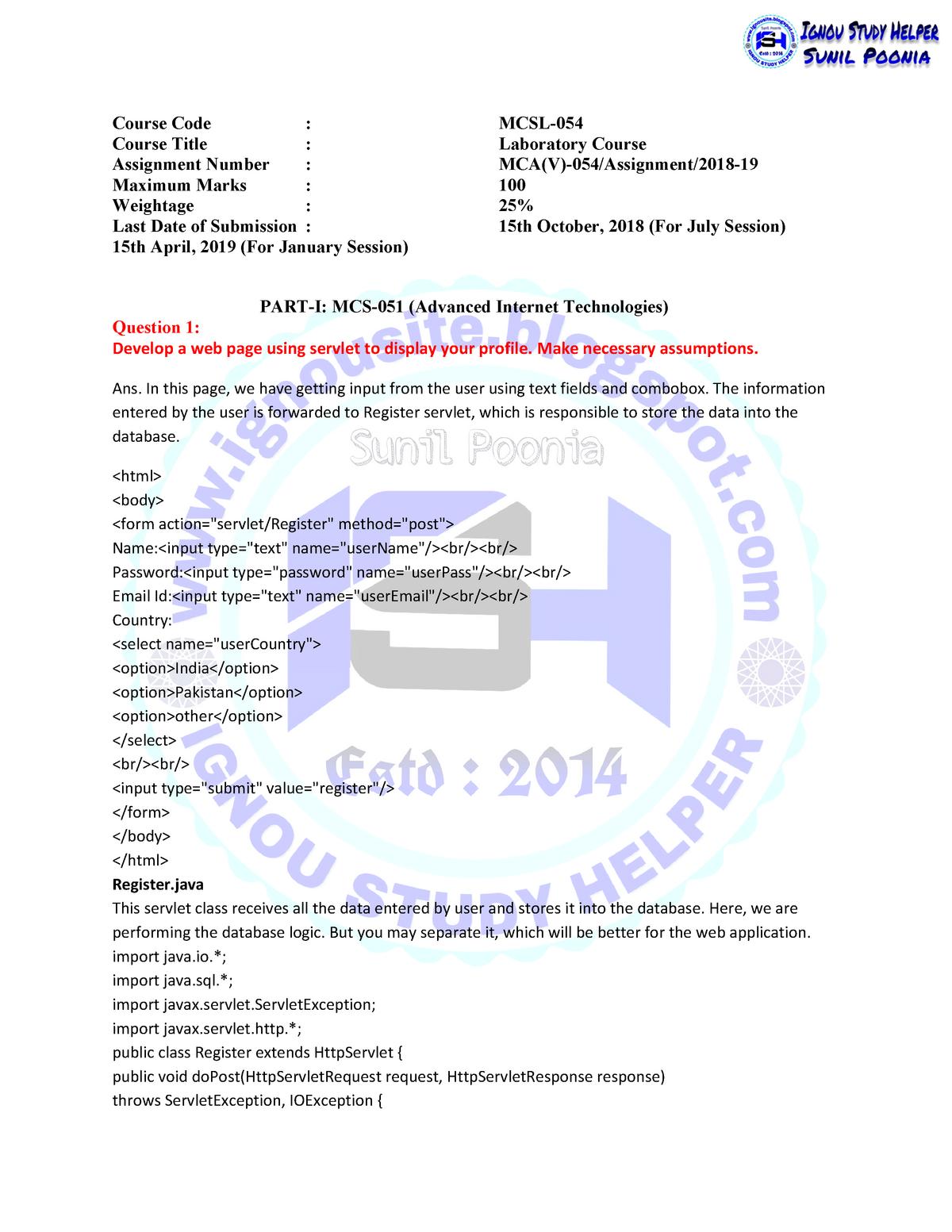 MCSL-054 2018-19 - MCSL-054 - ignou - StuDocu