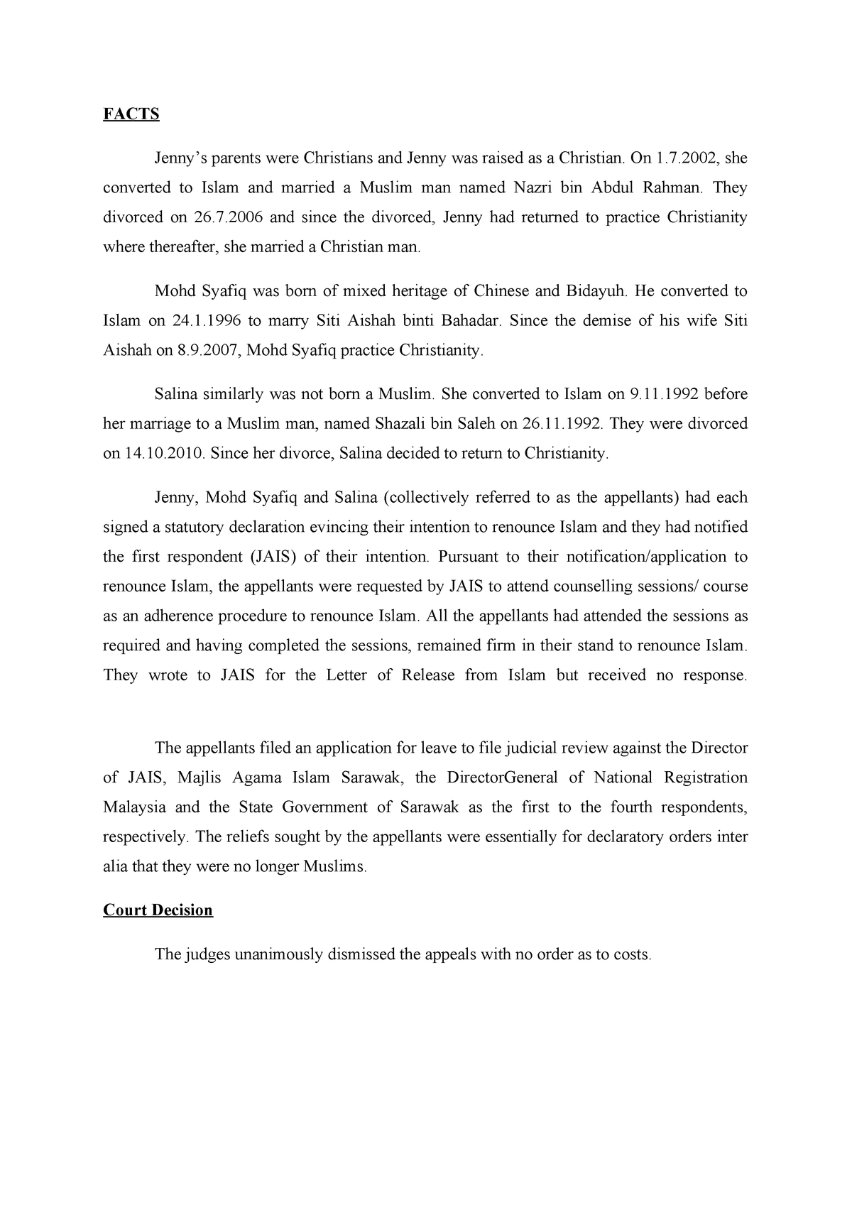 Jenny Peter CASE Summary - Law LAW224 - UiTM - StuDocu
