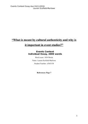 cultural event essay