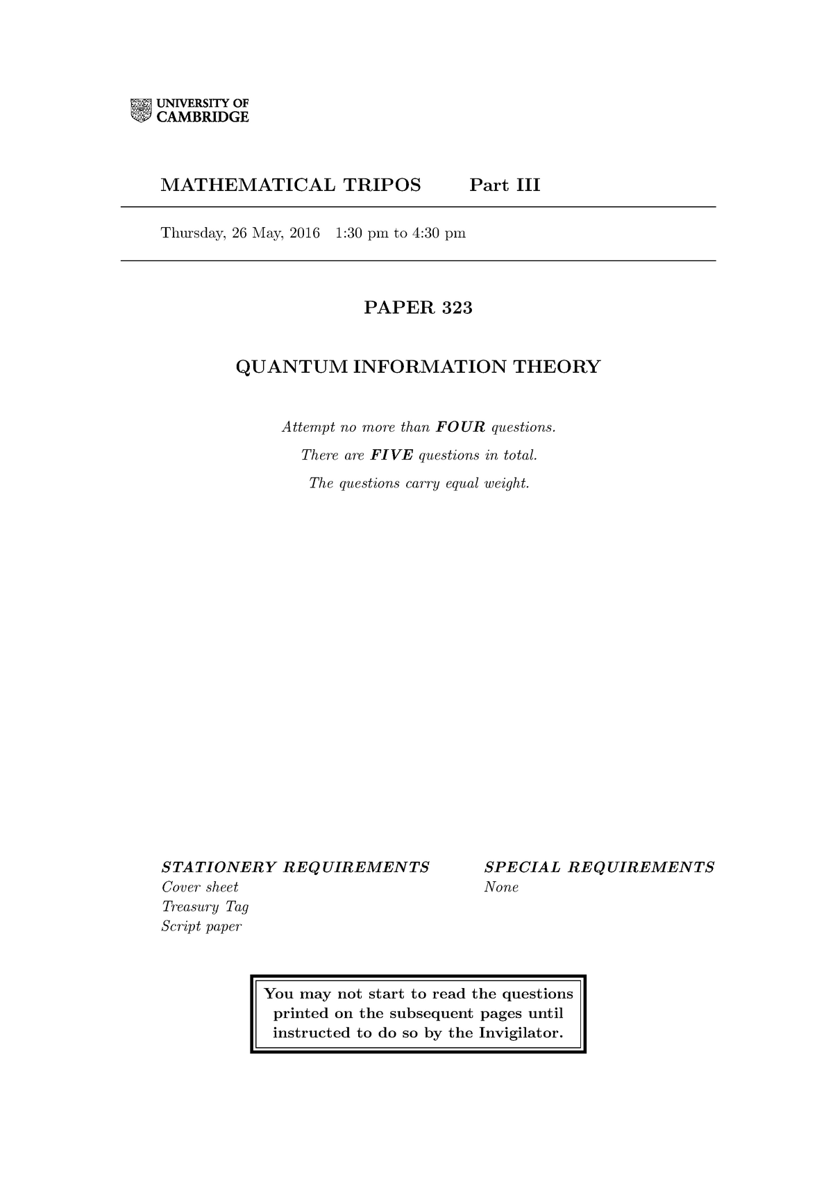 Exam 2016 - Quantum Information Theory - StuDocu