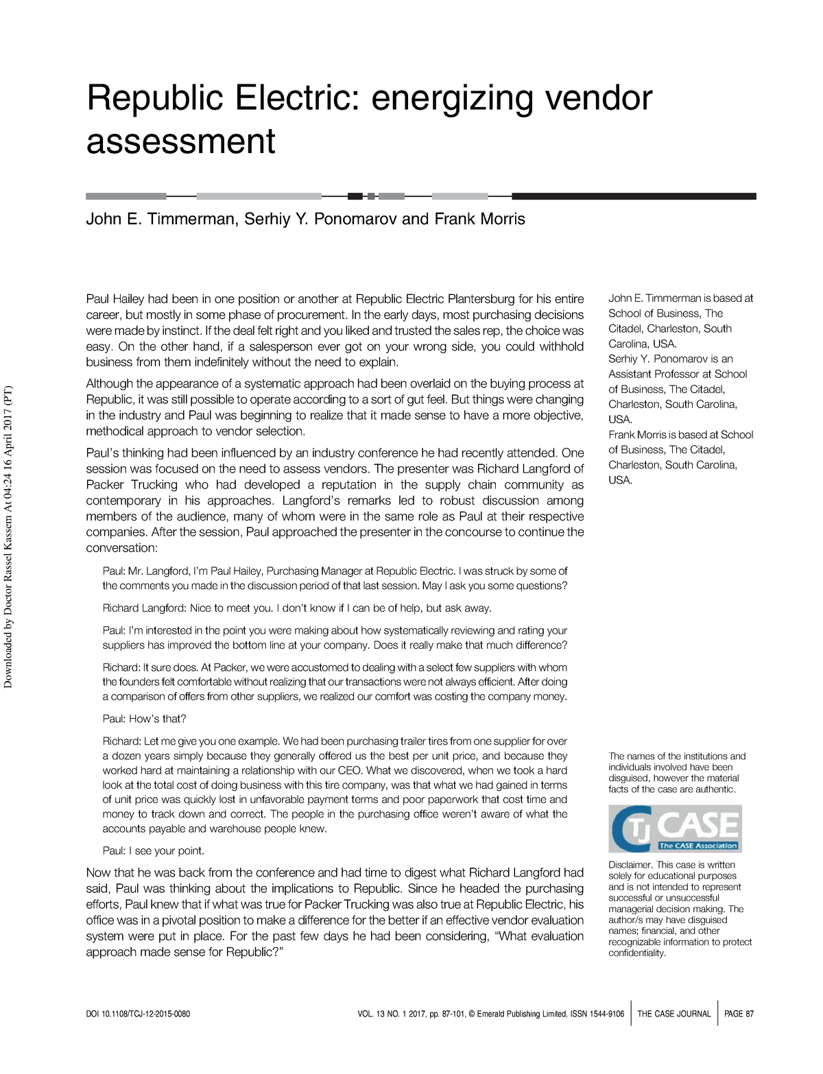 Case Study for Individual Assignment - EUROICADE401