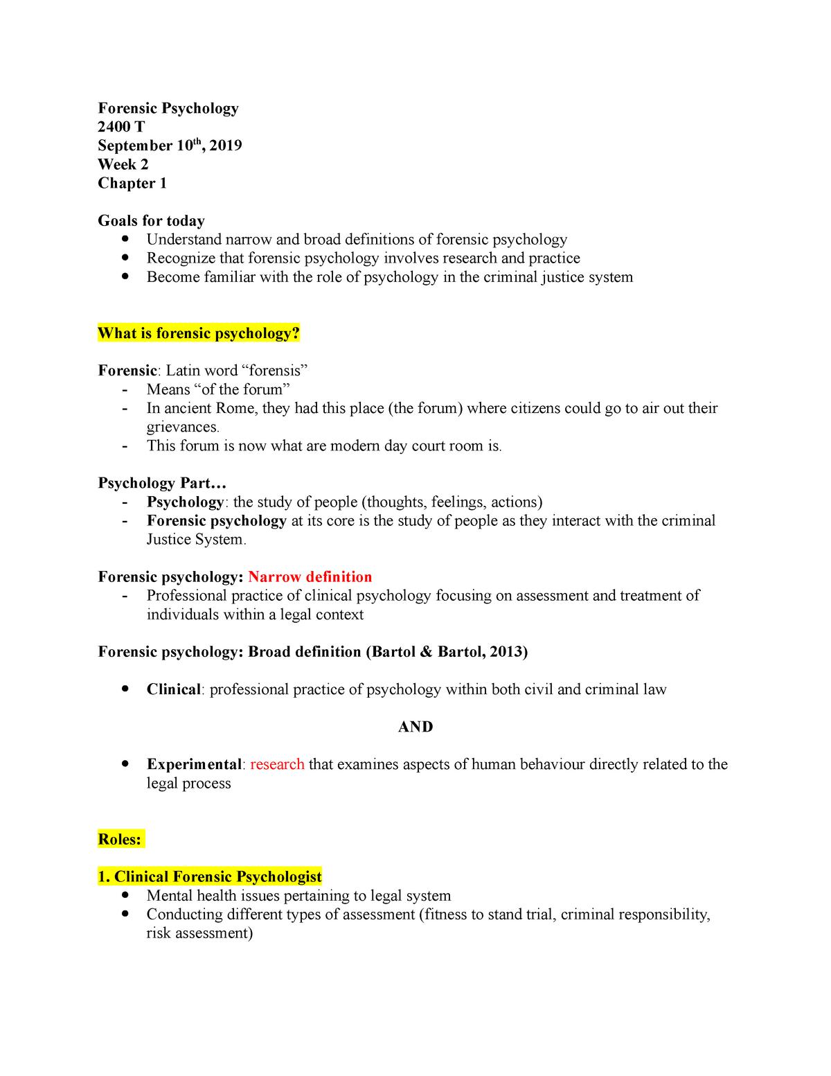 Forensic Psychology 2400 Week 2 Psyc 2400 Carleton Studocu