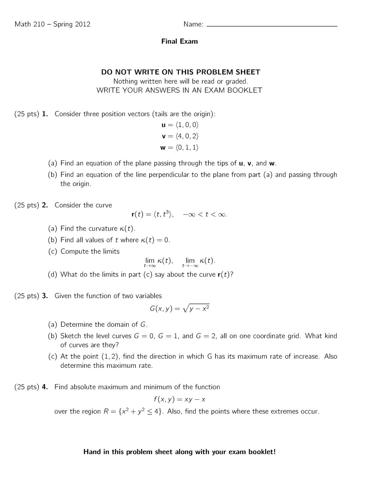 Exam 2012 - MATH 210: Calculus Iii - StuDocu