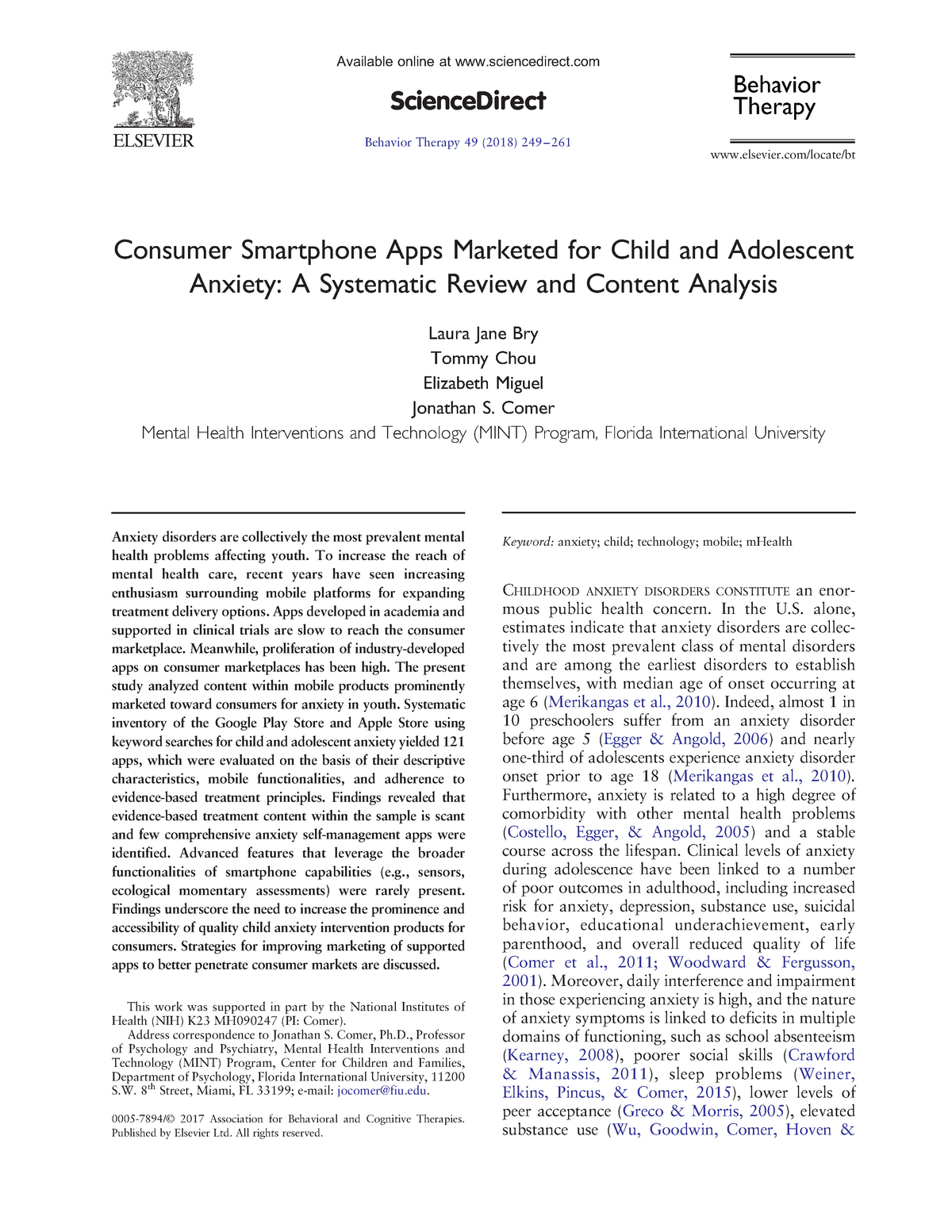 Consumer Smartphone Apps Marketed for Child and Adolescent
