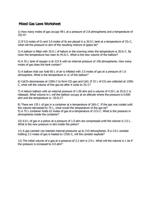 Mixed Gas Laws Worksheet - CHM 1045: General Chemistry - StuDocu