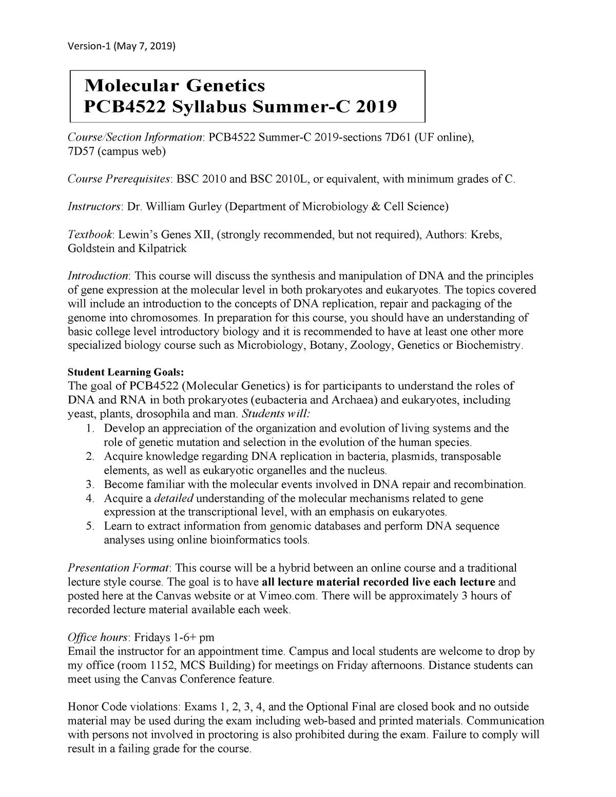 Pcb4522 Syllabus Summer C 2019 V1 Molecular Genetics Studocu