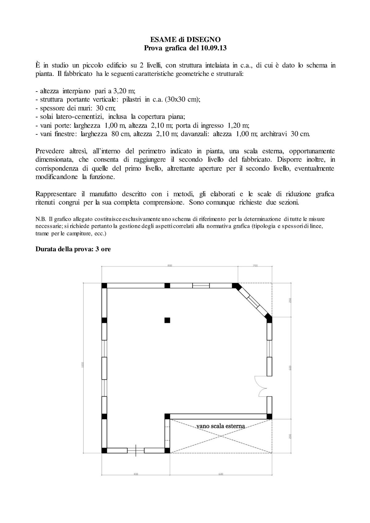 Dimensioni Porte Interne Normativa.Esame Di Disegno Del 10 Settembre 2013 Prova Grafica Studocu