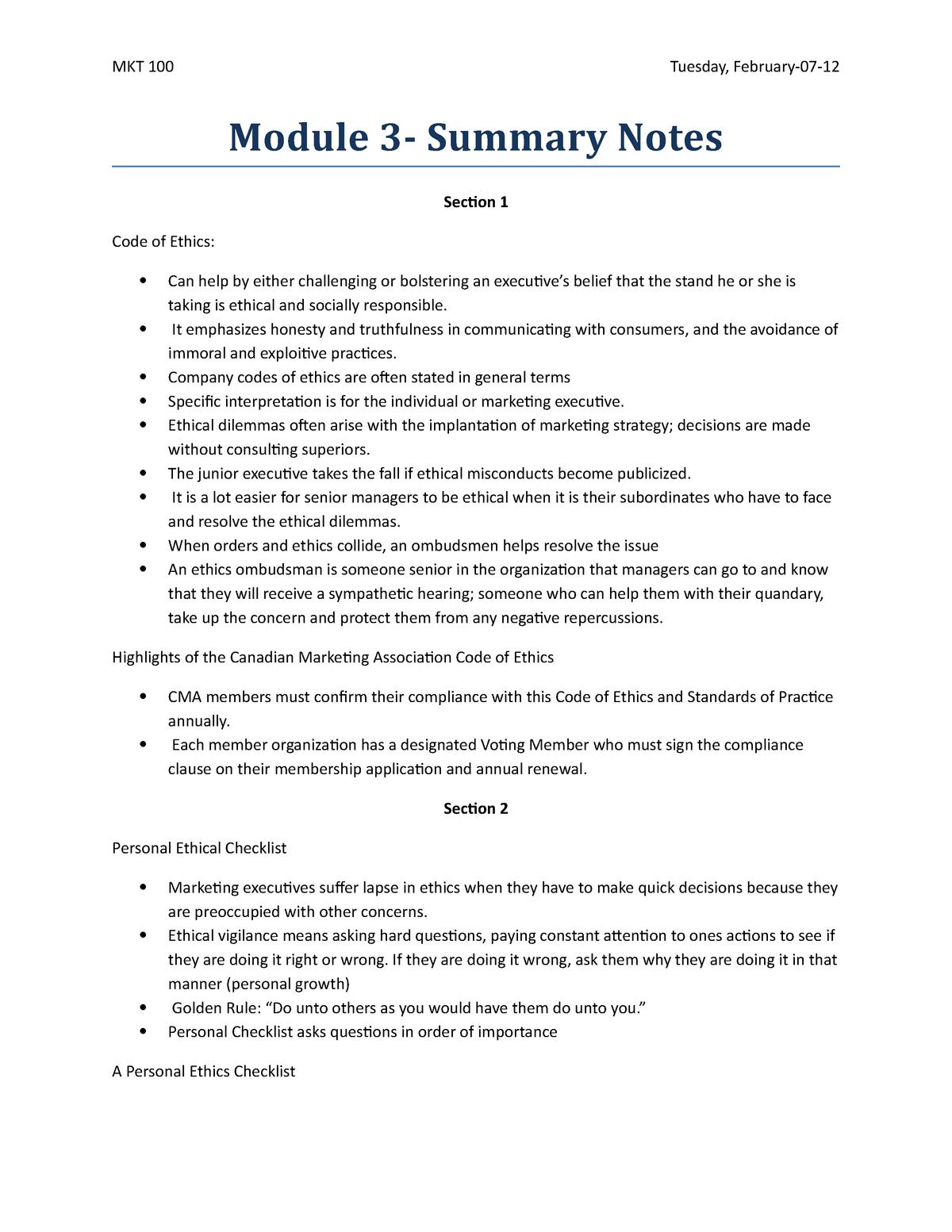 Summary - module 3 summary notes - CMKT100 - Ryerson - StuDocu