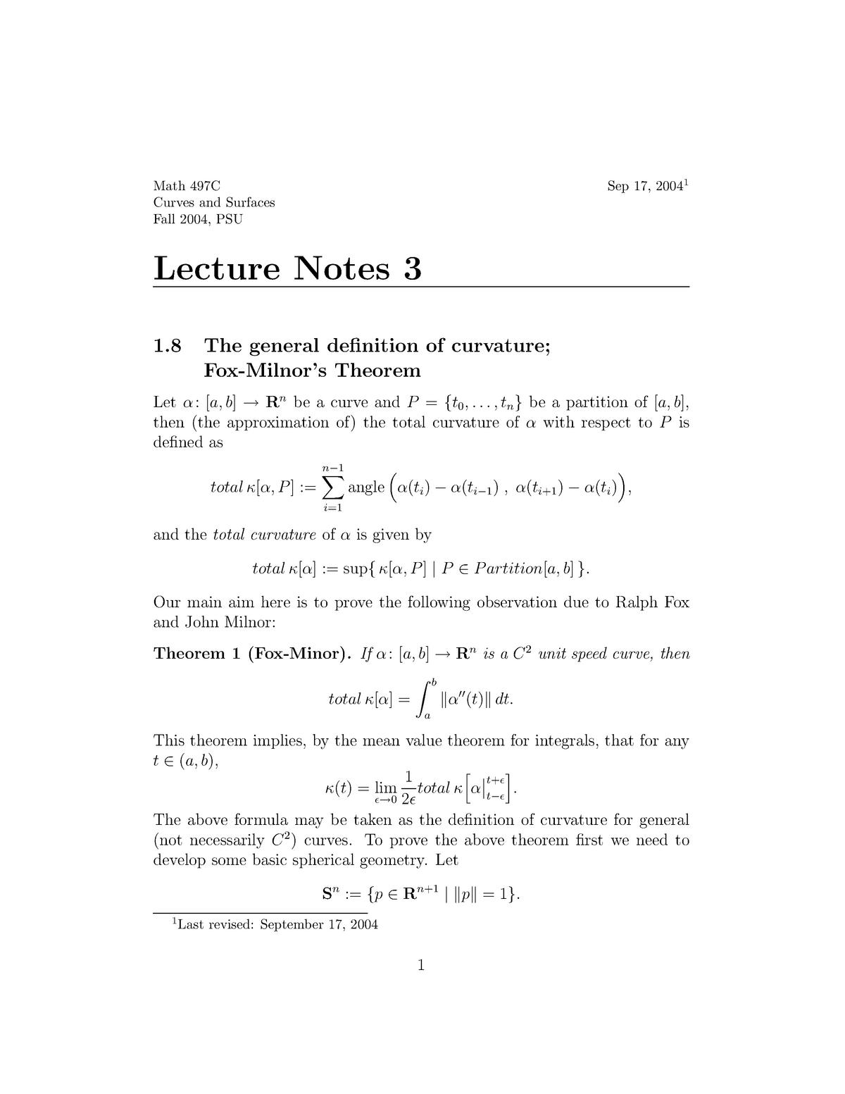 Summary - The general definition of curvature fox-milnor's - StuDocu