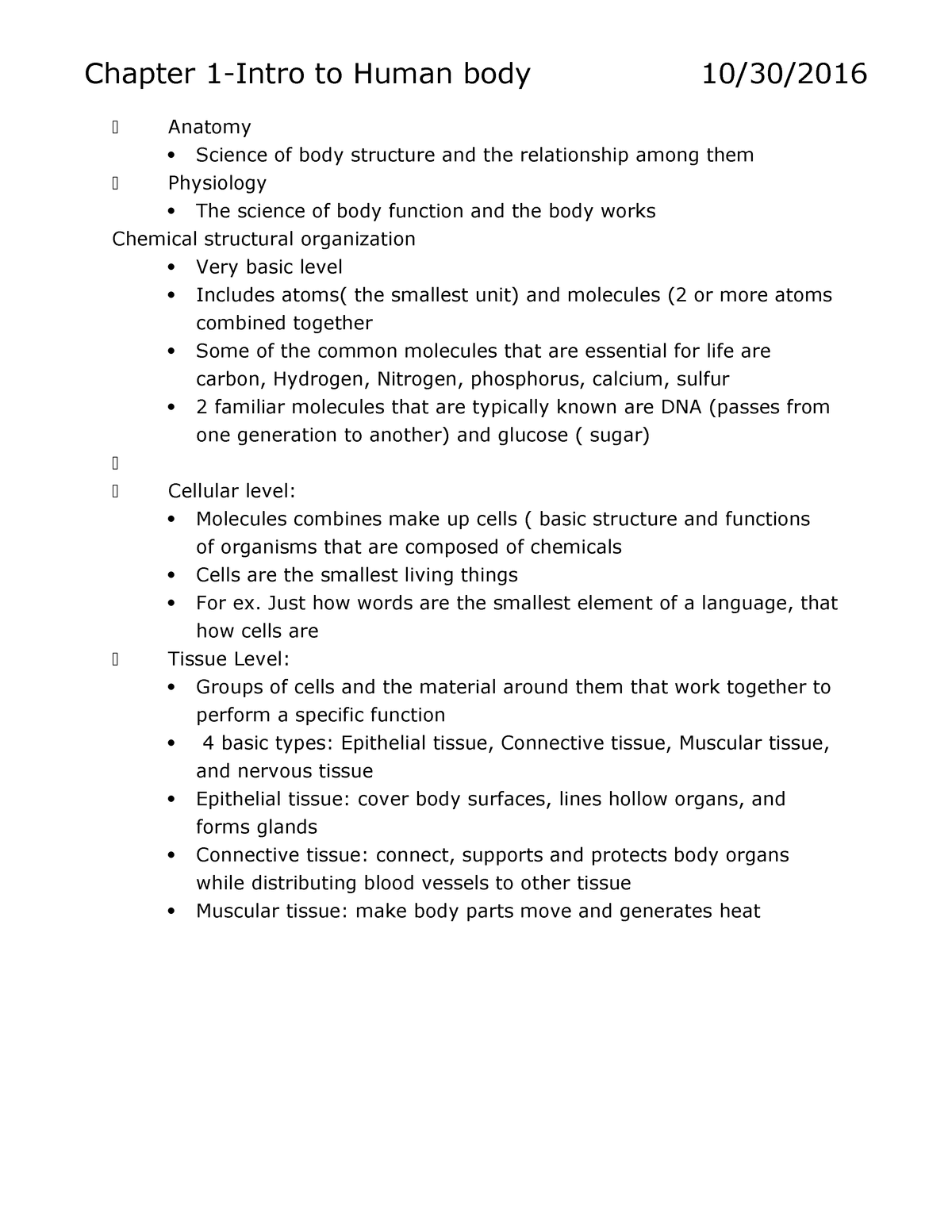 Lecture notes Chapter 1 - Human Anatomy and Physiology - Biol 235