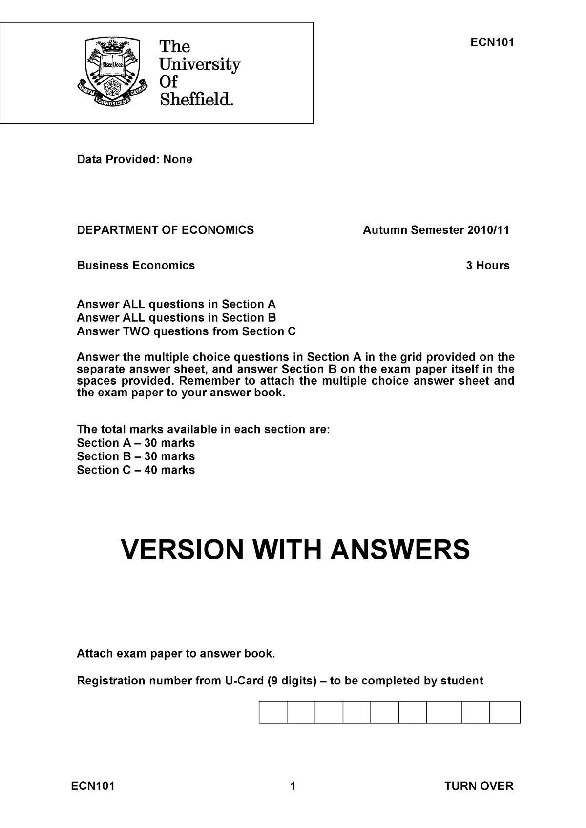 Exam 2010 - ECN101: Business Economics - StuDocu