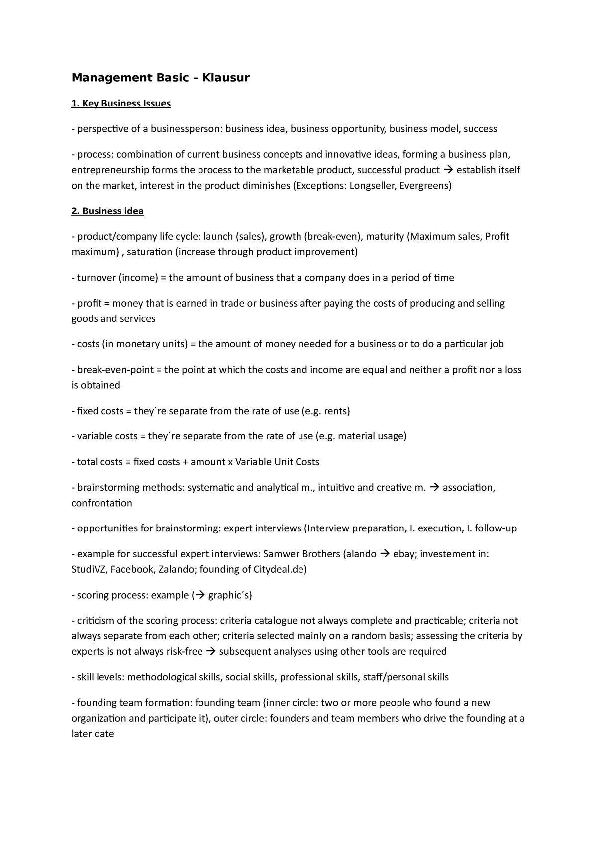 Management Basic Klausur (Englisch) - StuDocu