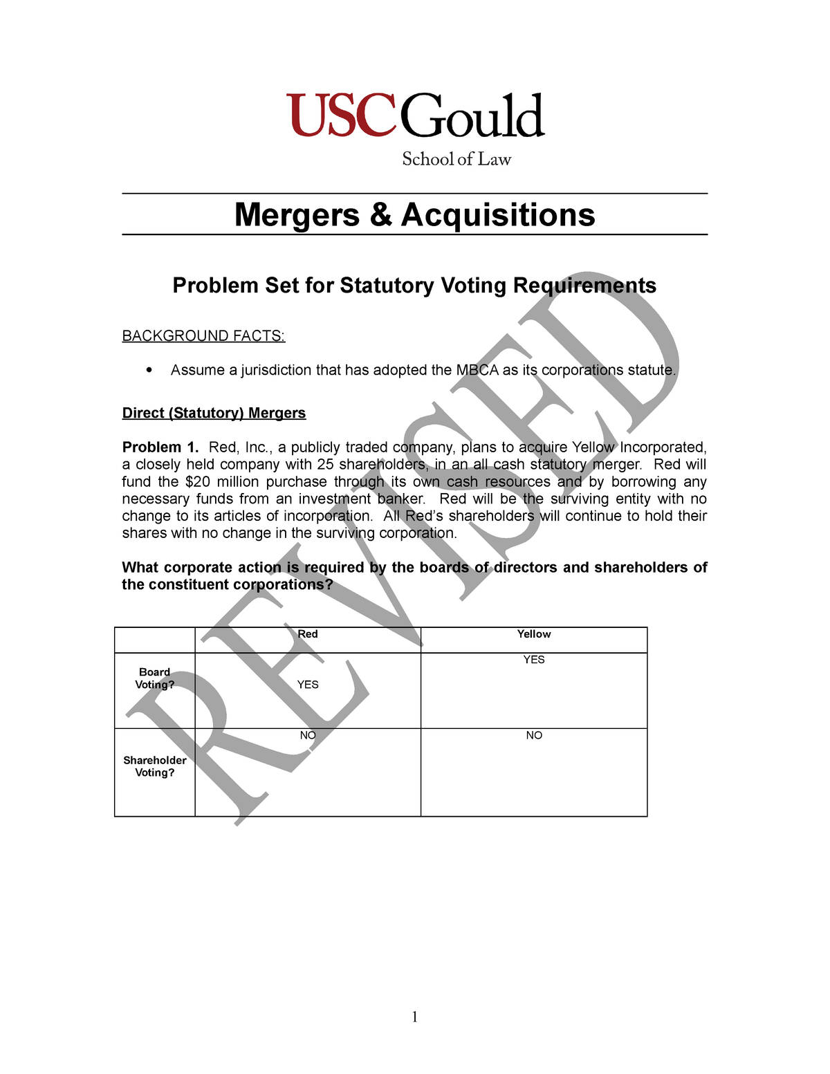 M&A Week 2 Problems (Voting Requirements) - LAW658 - USC