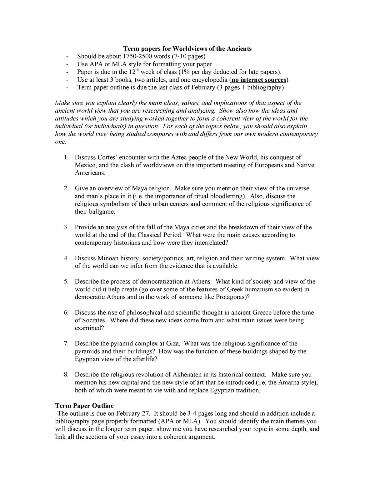 world religion term paper topics