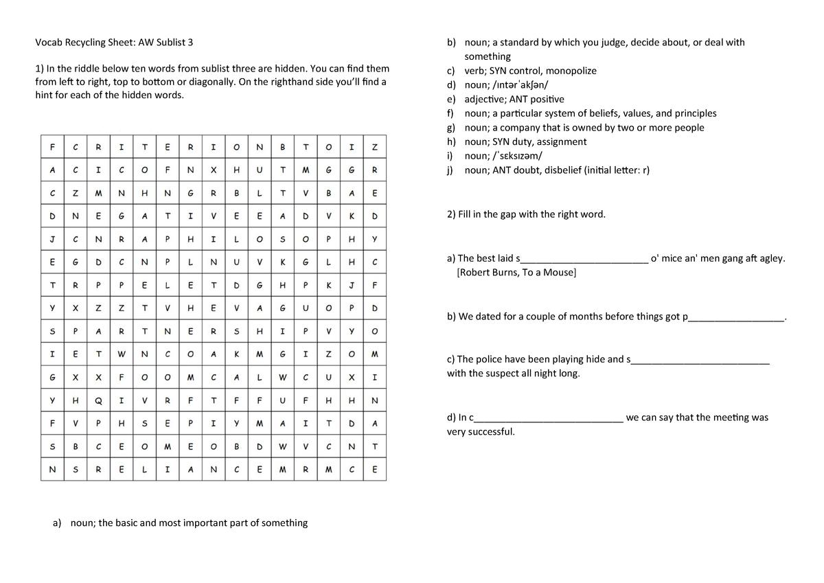 Vocab Recycling Sheet 3 - Language Course 3 - StuDocu
