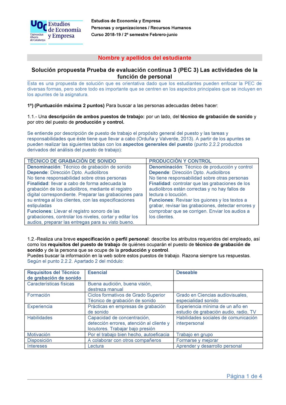 Solucion Pec 3 En Castellano Personas Y Organizaciones