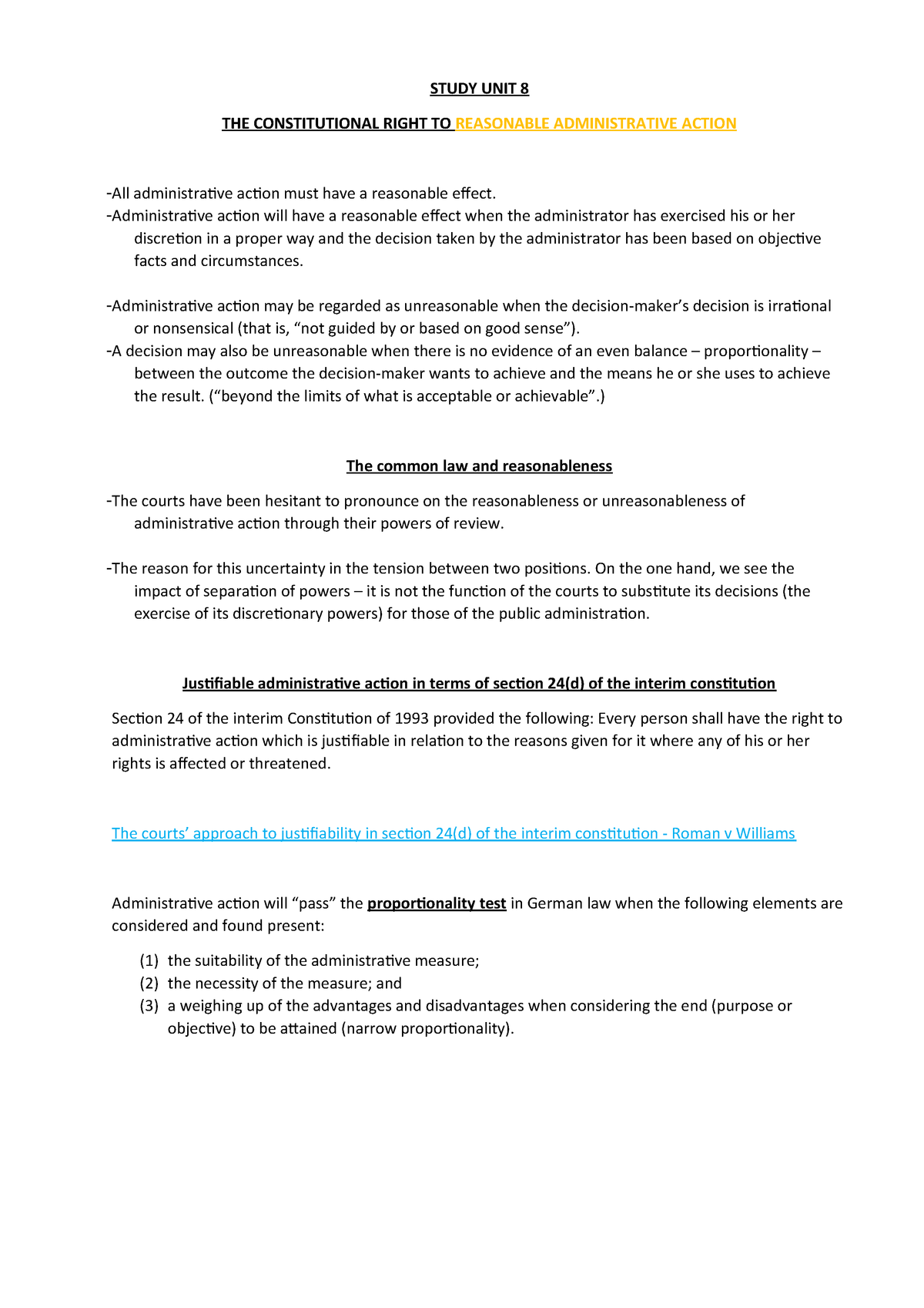 ADL Study UNIT 8 - NOtes - Administrative Law ADL2601 - StuDocu
