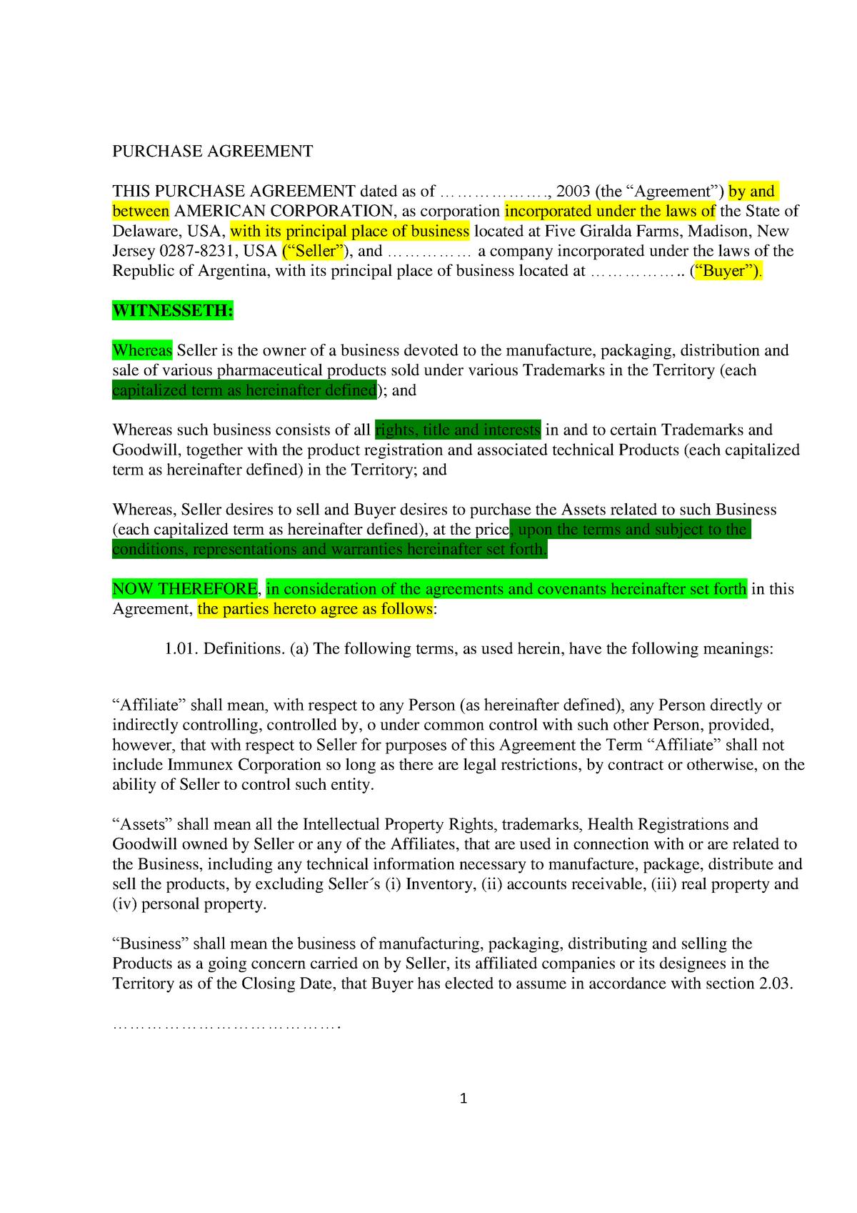 Purchase Agreement Source - Práctica Profesional B - StuDocu