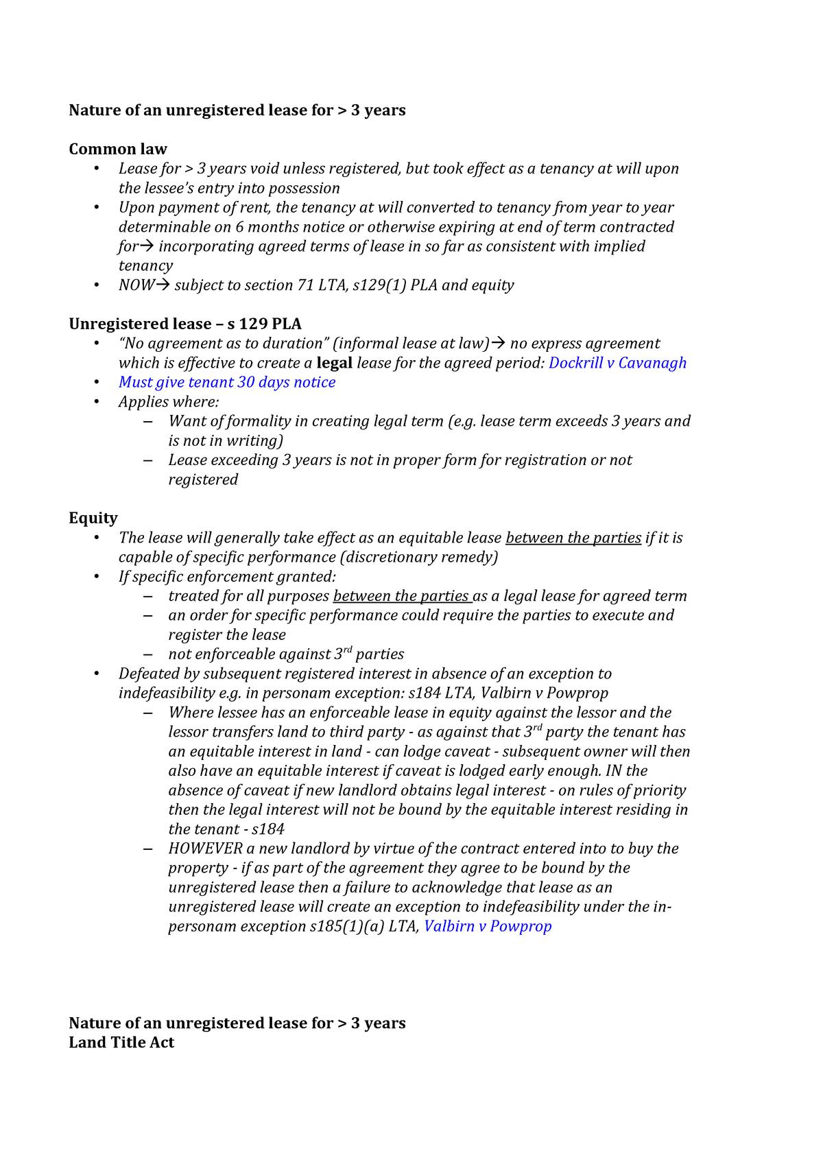 Lease Overview Exam Templates Llb301 Qut Studocu