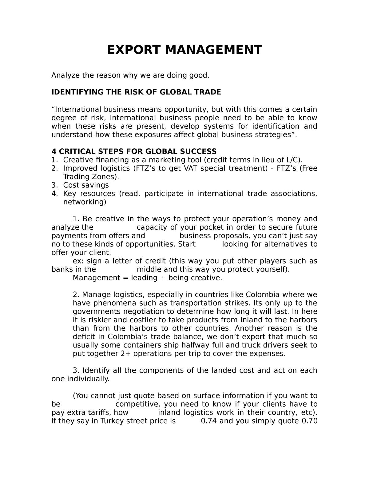Export Management - NI0100: Mercadeo internacional - StuDocu