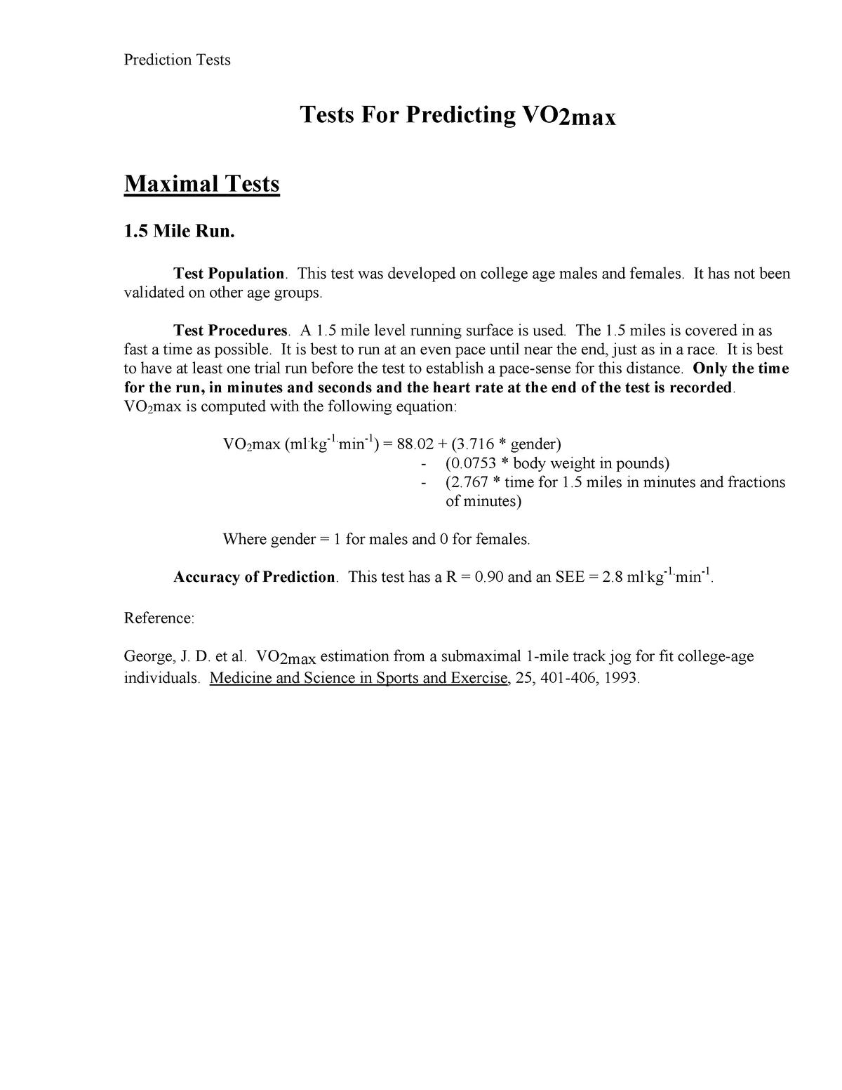 CV Fitness Tests Prediction Formulas - SES1S - StuDocu