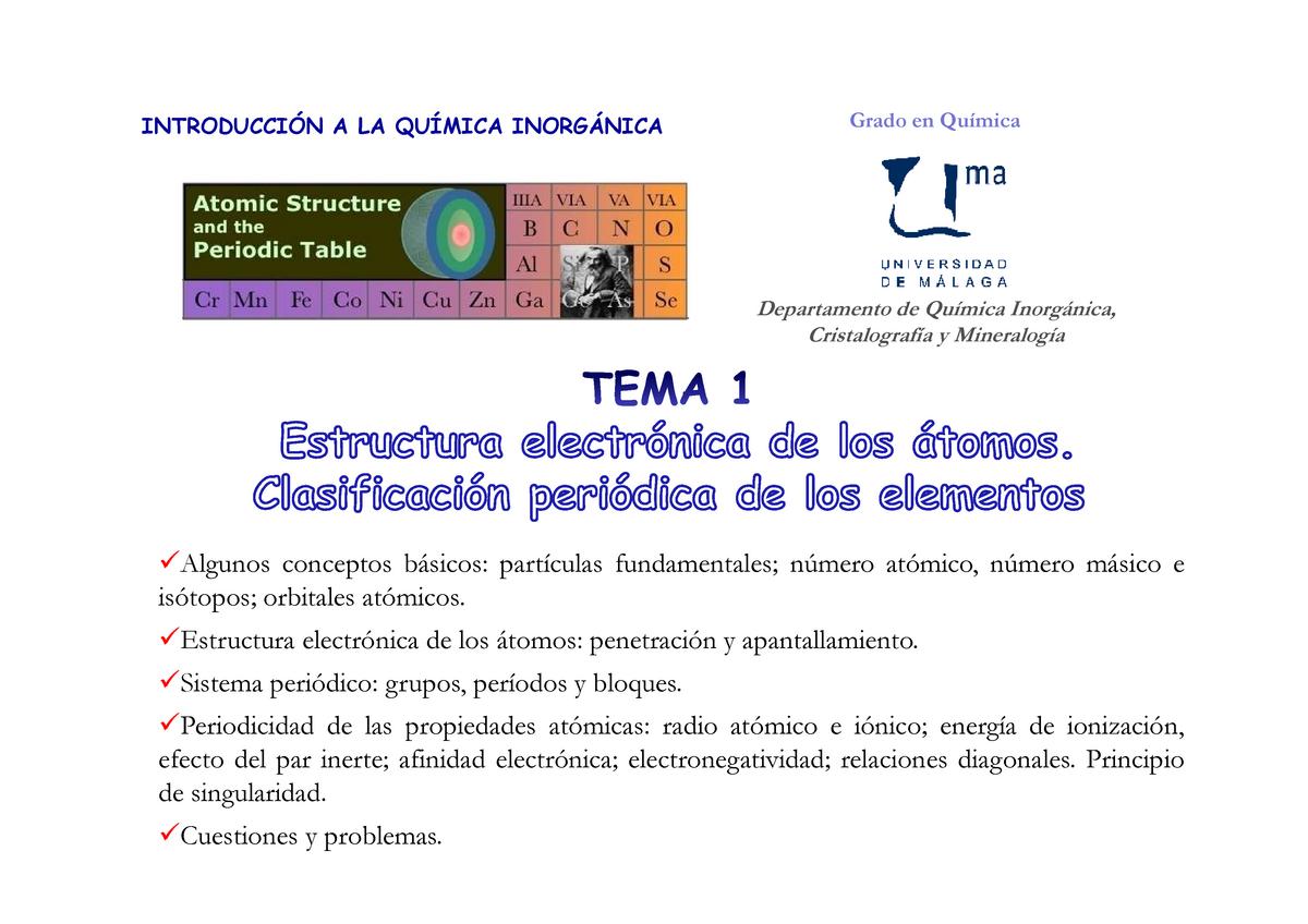 Esquema Tema1 Estructura Electrónica De Los átomos