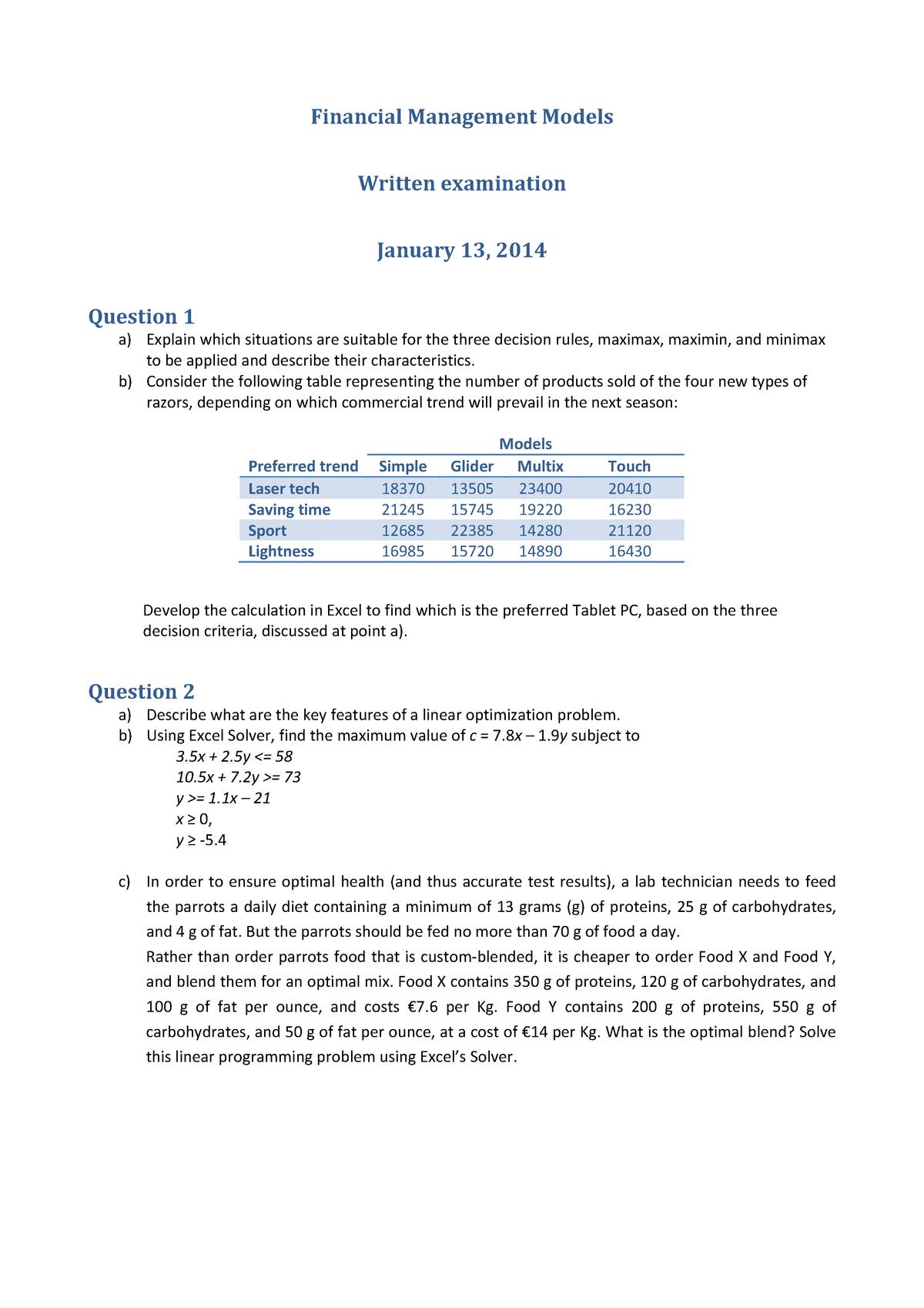 Examen 2014 - 750562: Financial management models - StuDocu