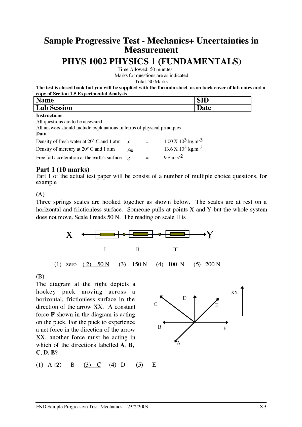 Practical - sample practical quiz with answers - PHYS1002