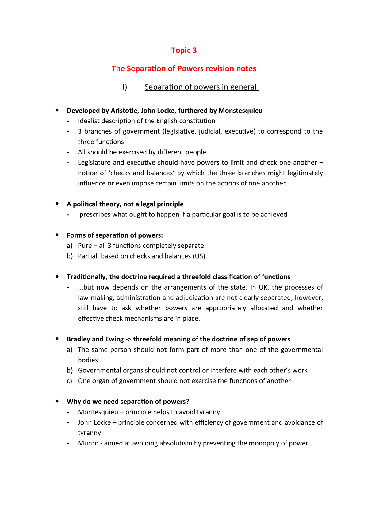 Separation of powers revision notes - Law - StuDocu