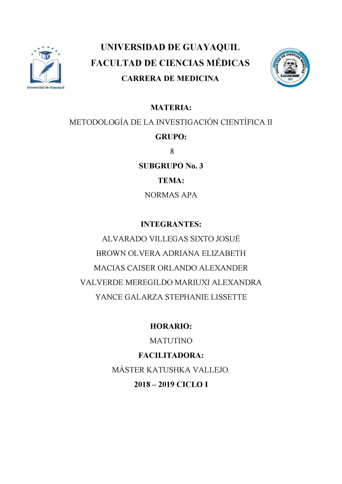 Normas Apa Resultante De Una Exposición Medicina 123456