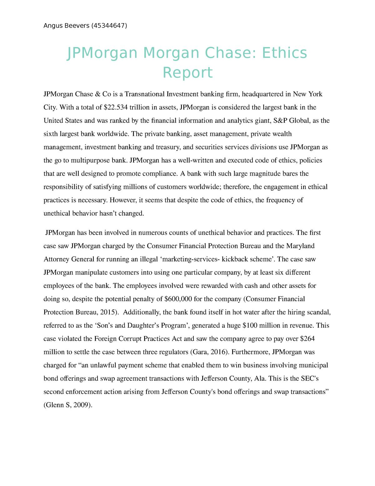 JPMorgan Morgan Chase Ethics Case Study - ACCG100: Accounting IA