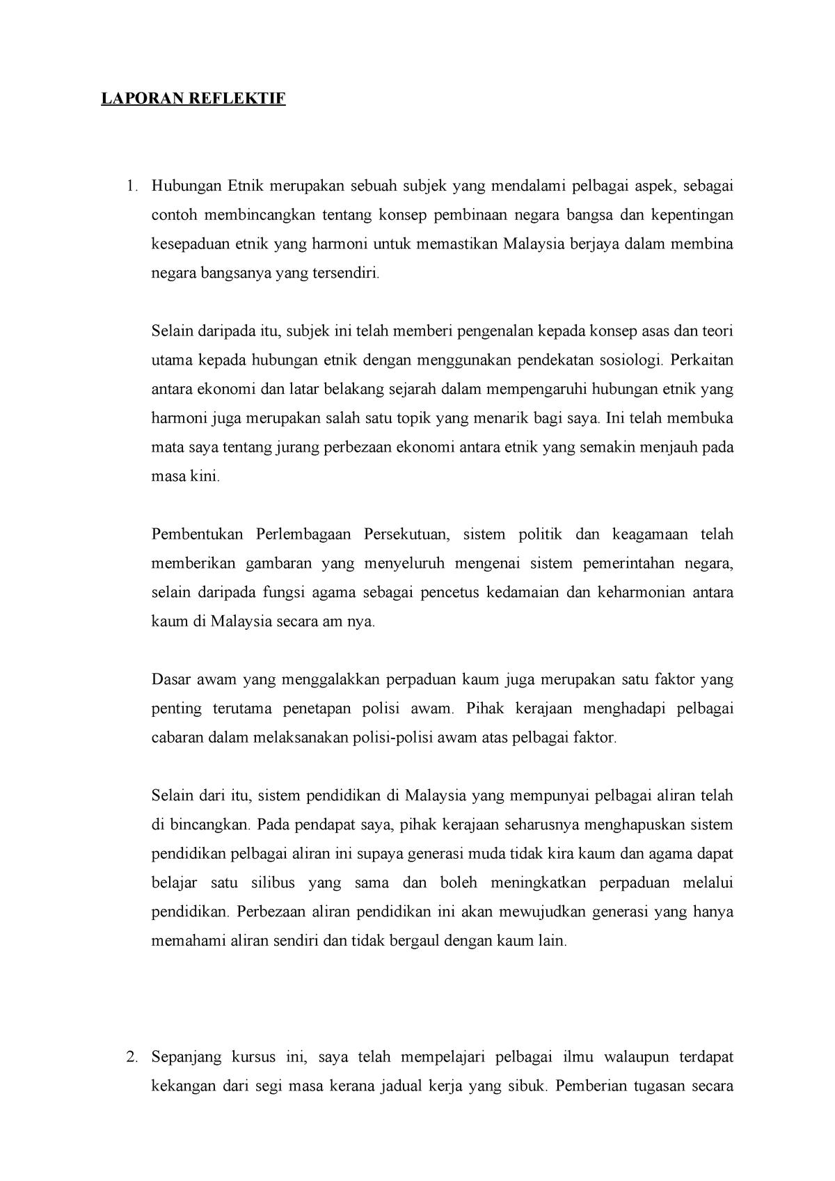 Laporan Reflektif Hubungan Etnik Mpu3112 Studocu