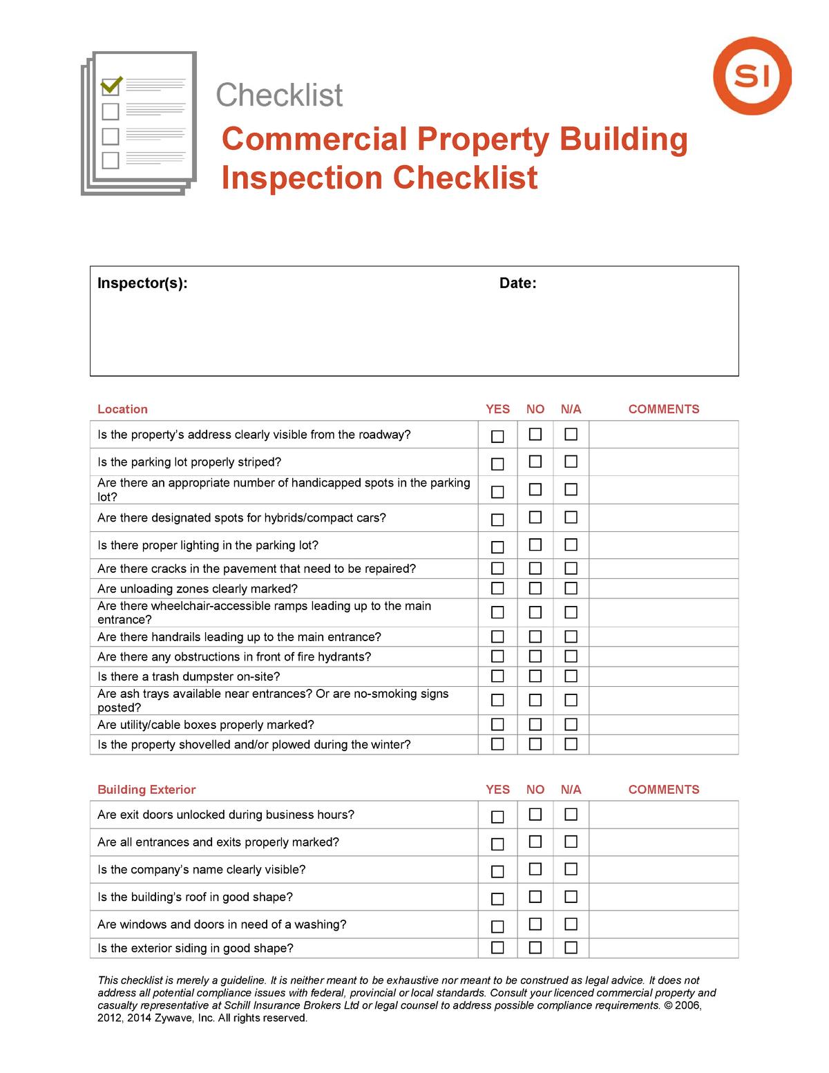 Commercial Property Building Inspection Checklist U Of T Studocu