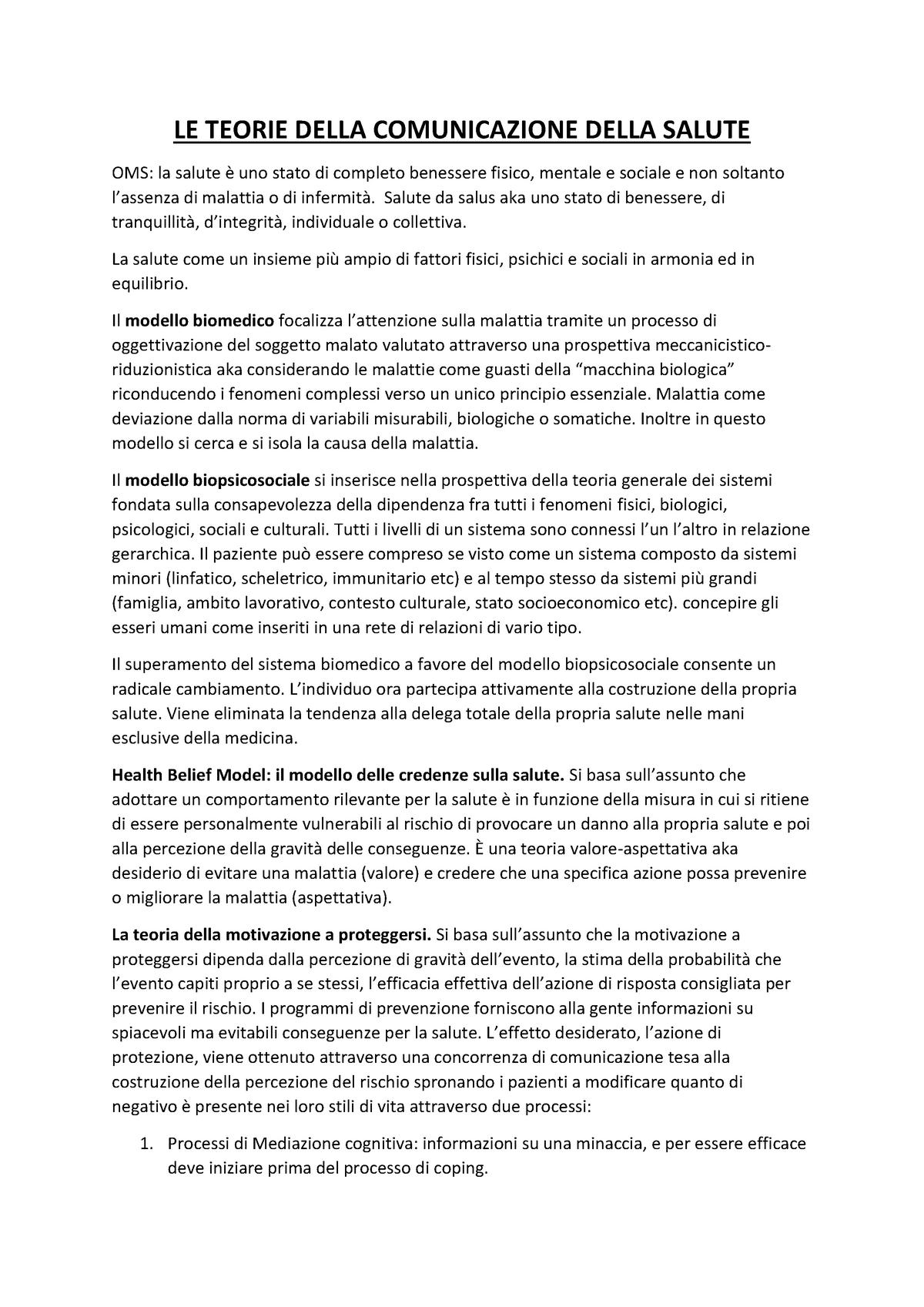 I Matteucci Comunicare La Salute E Promuovere Il Benessere Teorie E Modelli Per L Intervento Nella Scuola Studocu