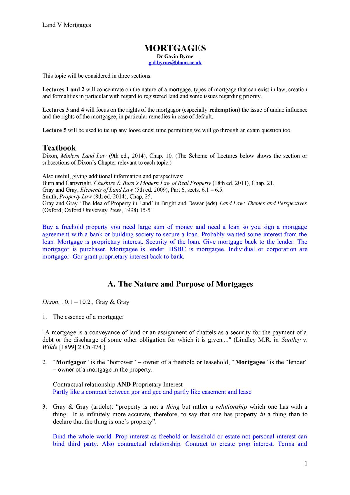 Mortgages - Summary Land Law - Land Law 08 21215 - StuDocu