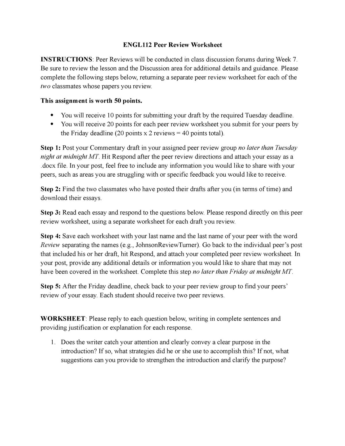 Week 7 ENGL 112 Peer Review Worksheet v2 - ENGL113