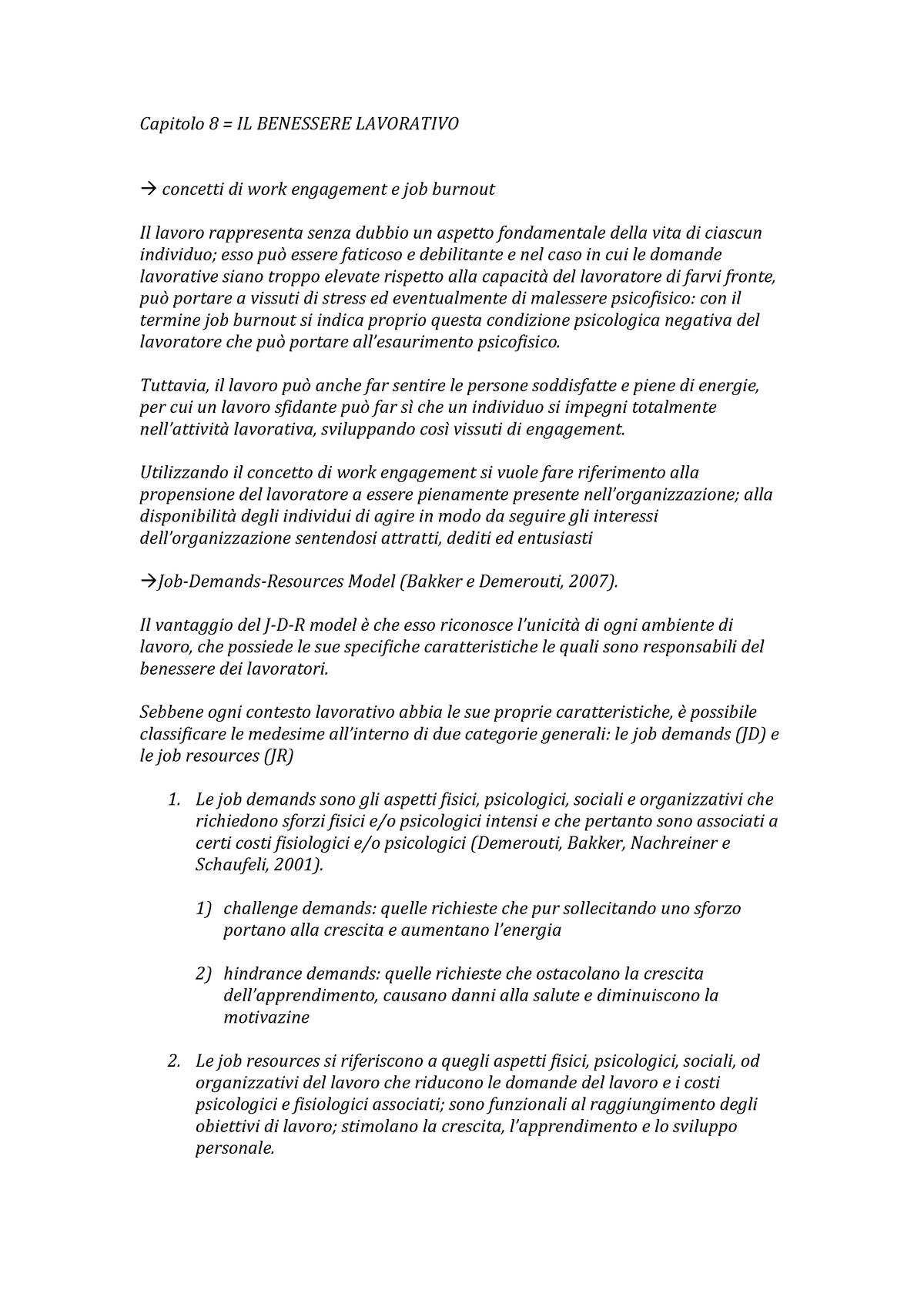 Capitolo 8 Psicologia Del Lavoro Uer Studocu
