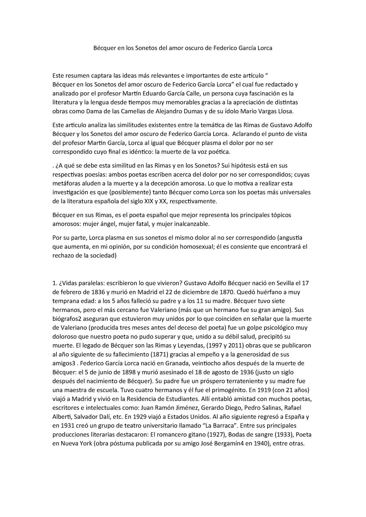 Relación Descomunal Entre Bécquer Y Lorca Ed1326 Unp