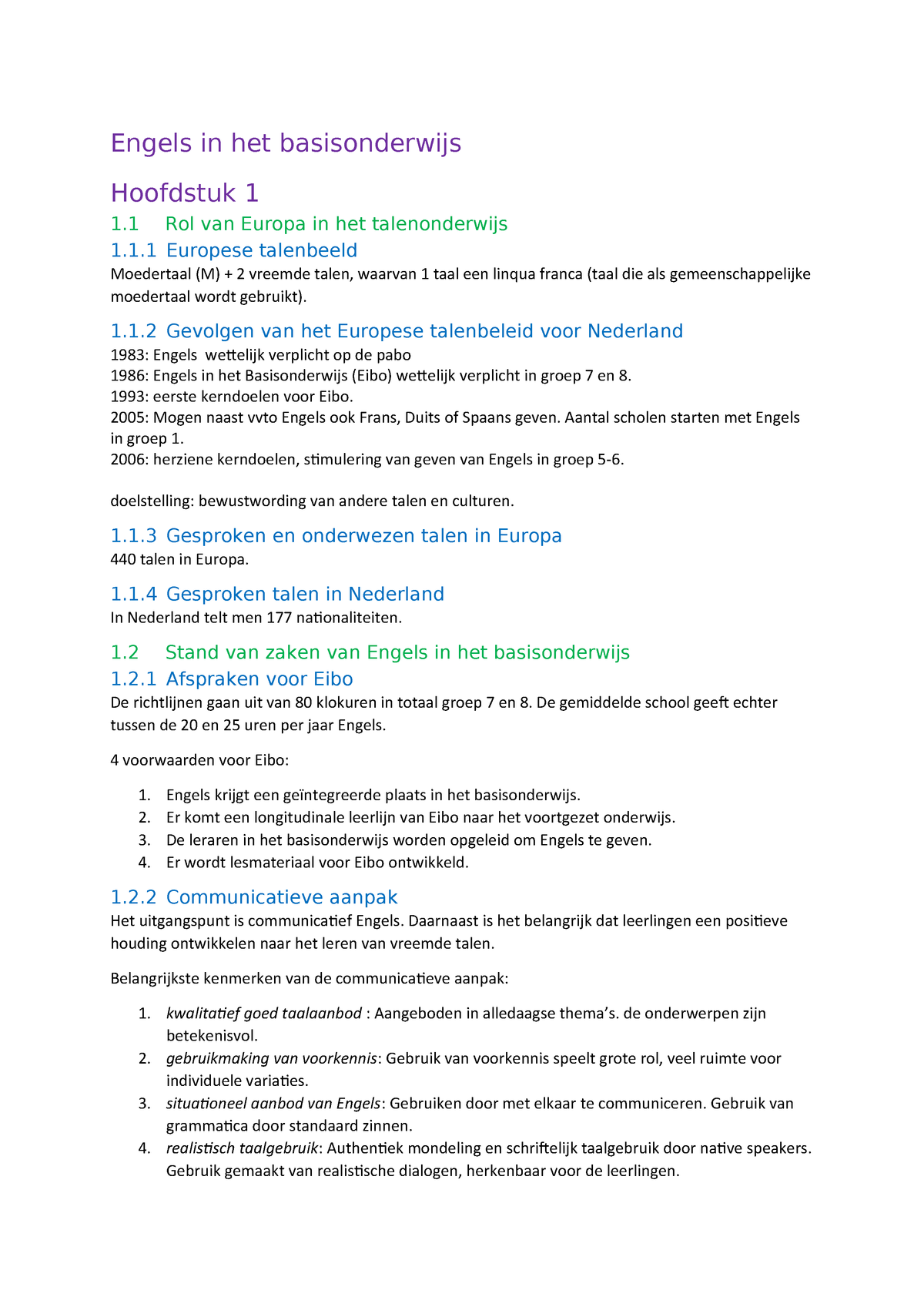 Kenmerken In Het Engels.Samenvatting Engels In Het Basisonderwijs Hoofdstuk 1 T M
